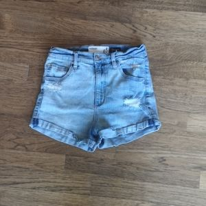 Garage Distressed Denim Mom Shorts